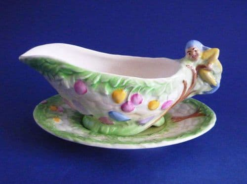 Vintage Royal Winton Rare Yellow 'Pixie' Sauceboat and Stand c1945