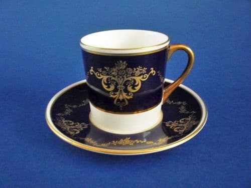 Vintage Shelley Fine Bone China Blue and Gold Pattern 14179 Coffee Can and Saucer c1940