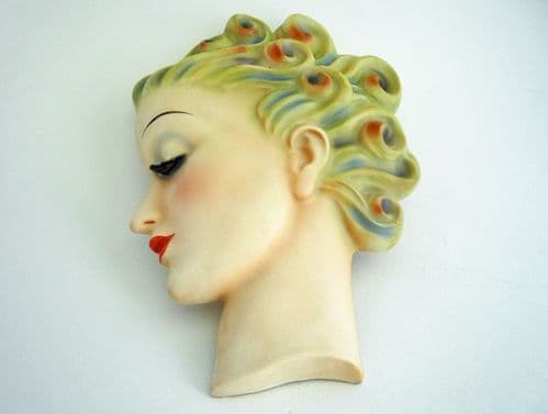 W. Goebel Art Deco 'Lady with Curls' Wall Mask Designed by Agnes Richardson c1935