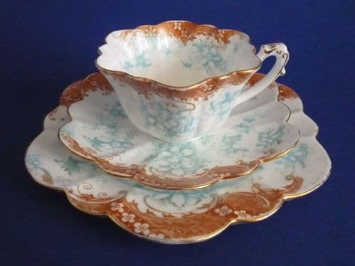 Wileman Foley China 'Floral Print with Scroll Border' Pattern 9108 Empire Shape Trio c1899
