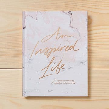 'An Inspired Life' Hardcover Journal - Inspirational Hardback Marble Journal Notebook