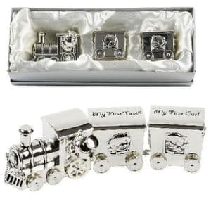 """""""SILVER TRAIN WITH TOOTH & CURL CARRIAGES"""" - BABY/CHRISTENING GIFT"""
