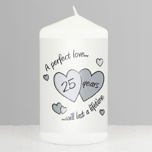 25th Anniversary Silver Wedding Gift - Perfect Love Silver Anniversary Candle