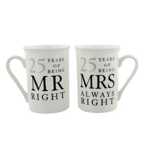 25th Silver Wedding Anniversary Mr & Mrs Mug Gift Set - 25 years of being Mr Right'Mrs Always Right