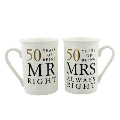 50th Golden Wedding Anniversary Mr & Mrs Mug Set Gift