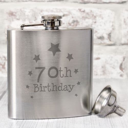 70th Birthday Silver Hip Flask Gift