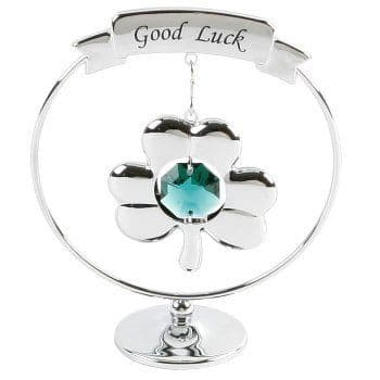 A CRYSTOCRAFT 'GOOD LUCK' GREEN  SWAROVSKI CRYSTAL CLOVER CAKE TOPPER  KEEPSAKE