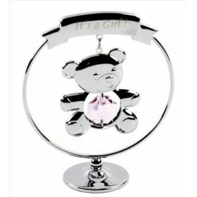 A CRYSTOCRAFT KEEPSAKE 'ITS A GIRL ' - NEW BABY GIFT - SWAROVSKI CRYSTAL