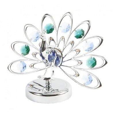 A CRYSTOCRAFT 'PEACOCK' WITH 9  SWAROVSKI CRYSTALS CAKE TOPPER AND KEEPSAKE