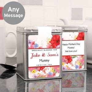 A Personalised Tea Caddy and Tea Bags Gift For Mothers Day and Birthdays Spring Flower Design