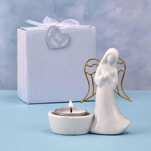 Angel Ornament Candle Holder Favour Gift White Gold Figurine