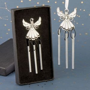 Angel Wind Chime Favour Gift Silver and White Angel