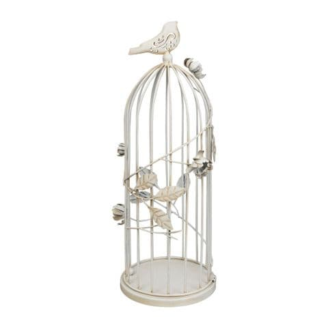 Antique White Birdcage Candle Lantern For Home and Garden