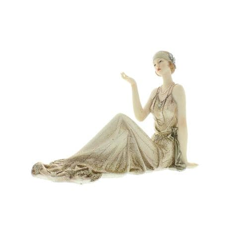 Art Deco Lady Figurine Cream and Gold Broadway Belles by Juliana 'Justina' 58428