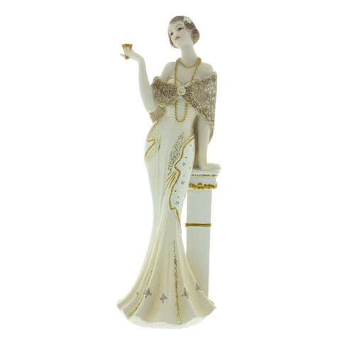 Art Deco lady figurine in Cream and Gold Broadway Belles by Juliana 'Lisette' 58435