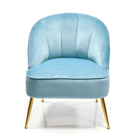 Baby Blue Velvet Contemporary Cocktail Chair - Occasional Lounge or Bedroom Chair