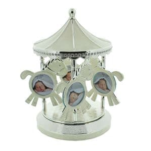 Baby Musical Photo Frame Carousel Silver Plated Sparkling Diamante Christening or Baby Gift - Unisex