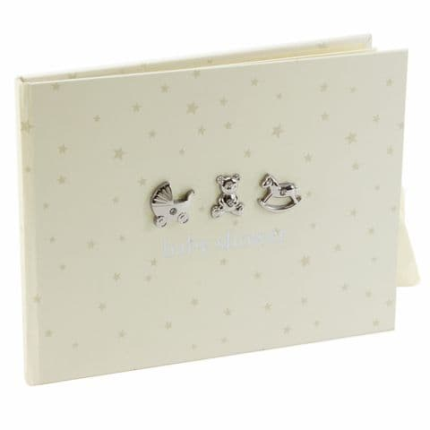 Bambino Baby Shower Guest Book - Cream  Guest Book for Baby Shower party With Siver and Crystals