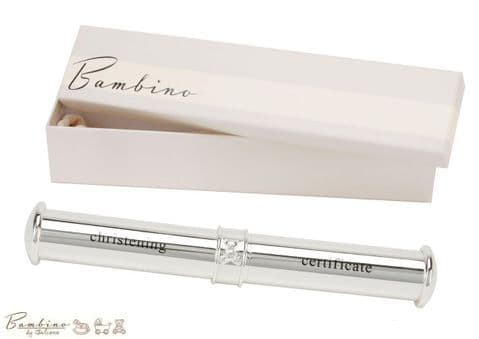 Bambino Christening Certificate Holder Tube - Quality Silver Plated Baby Gifts