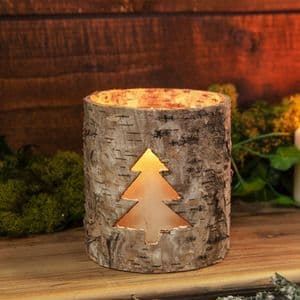 Birch Wood Design Woodland Christmas Candle Holder with Christmas Tree Cut Out