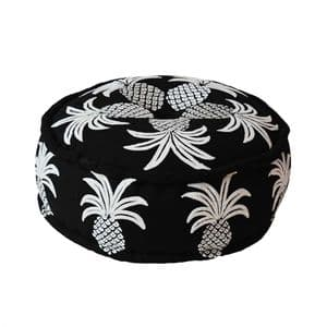 Black Pineapple Embroidered Floor Cushion Pouffee by Bombay Duck