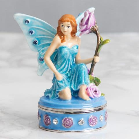 Blue Flower Fairy Trinket Box - Treasured Trinkets Collectable Jewellery Box
