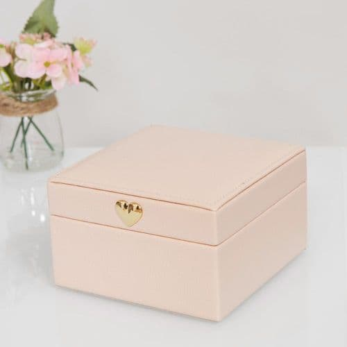 Blush Pink Jewellery Box With Rose Gold Heart Clasp Small