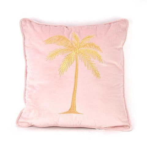 Blush Pink Velvet Cushion With Gold Palm Tree Embroidery