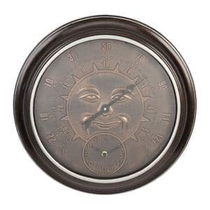 Bronze Effect Garden Thermometer and Wall Clock With Sun Design Face