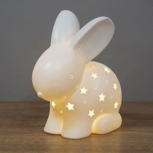 Bunny Rabbit Night Light - Light Up Ceramic Bunny Rabbit For Baby's Room Nursery