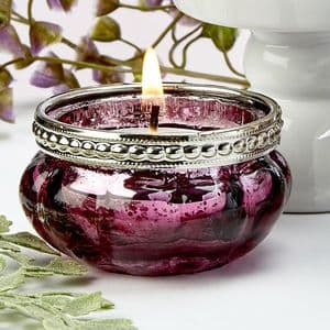 Burgundy glass candle holder table gift dinner party wedding favor