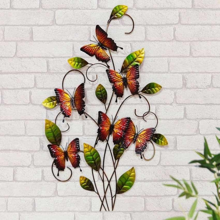 Butterfly Metal Wall Art Ornament For Home and Garden.  Hand made colourful metal garden sculpture