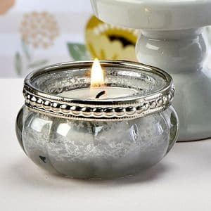 Candle favor table gift - silver mercury ornate glass candle gift for guests