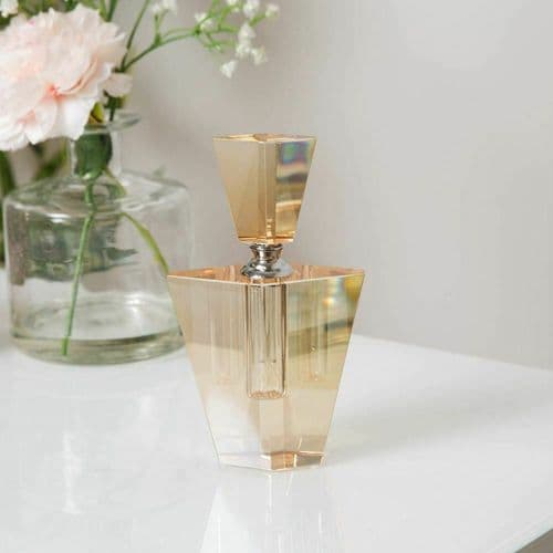 Champagne Coloured Art Deco Style Cut Glass Perfume Bottle Gift