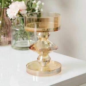 Champagne Coloured Cut Glass Pillar Candle Holder