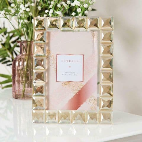 Champagne Gold Cut Glass Photo Frame - Luxury Crystal Glass Photo Frame Gift