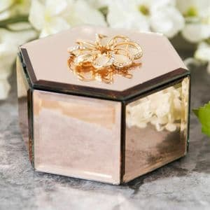 Champagne Mirror Glass Hexagonal Trinket Jewellery Box With Crystal Flower