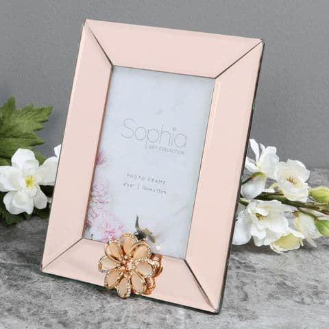 Champagne Mirrored Glass Photo Frame  4 x 6 Luxury Embellished Frame
