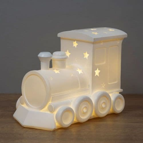 Choo Choo Train Night Light - Light Up Ceramic Train Ornament For Baby's Room Nursery