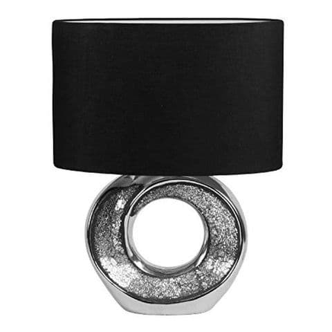 Chrome Effect Round Open Base Table Lamp With Black Shade 21cm