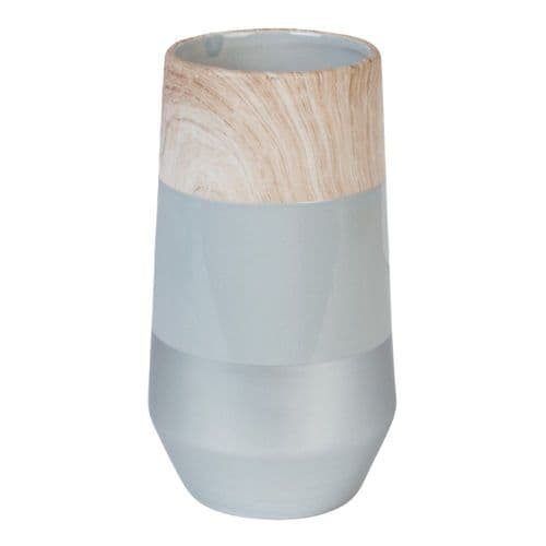 Concrete Grey and Wood Effect Ceramic Vase 22cm Home Ornament