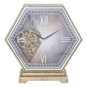 Contemporary Hexagonal Mantel Clock With Moving Cogs
