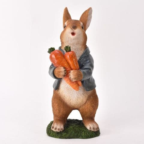 Country Cottage Mr Rabbit Garden Ornament  dressed in Blue Jacket