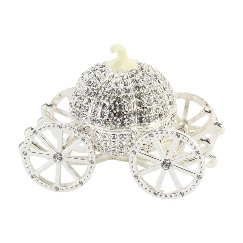 Crystal Cinderella Coach Trinket Box keepsake and luxury table gift and favor for special fairytale occasions.