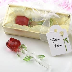 Crystal Rose Favor Table Gift - Red Rose Clear Stem Green Leaves