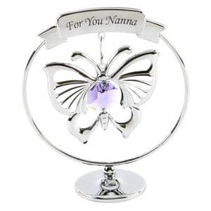CRYSTOCRAFT SWAROVSKI BUTTERFLY FOR NANNA - MOTHERS DAY OR CAKE TOPPER KEEPSAKE