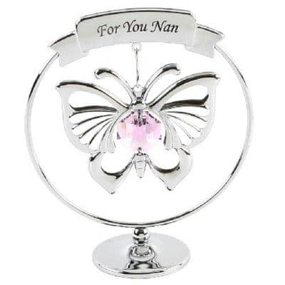 CRYSTOCRAFT SWAROVSKI BUTTERFLY 'FOR YOU NAN' - MOTHERS DAY OR CAKE DEC KEEPSAKE