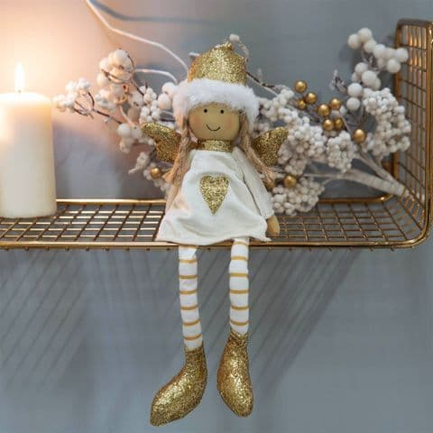 Cute White and Gold Christmas Angel Shelf Sitting Ornament Decoration