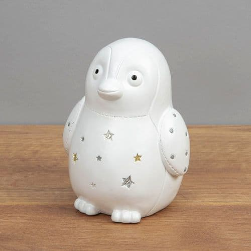 Cute White Baby Penguin Money Box Unisex Baby Gift By Bambino