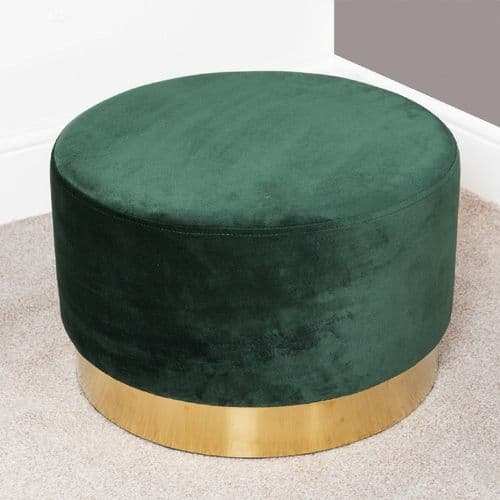 Dark Green Velvet Round Footstool With Gold Trim